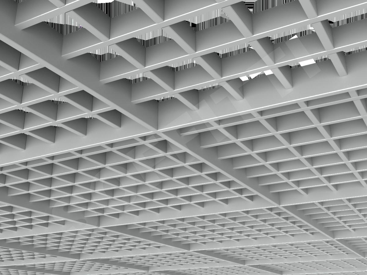 Потолок Грильято разноуровневое 75х75 мм серый