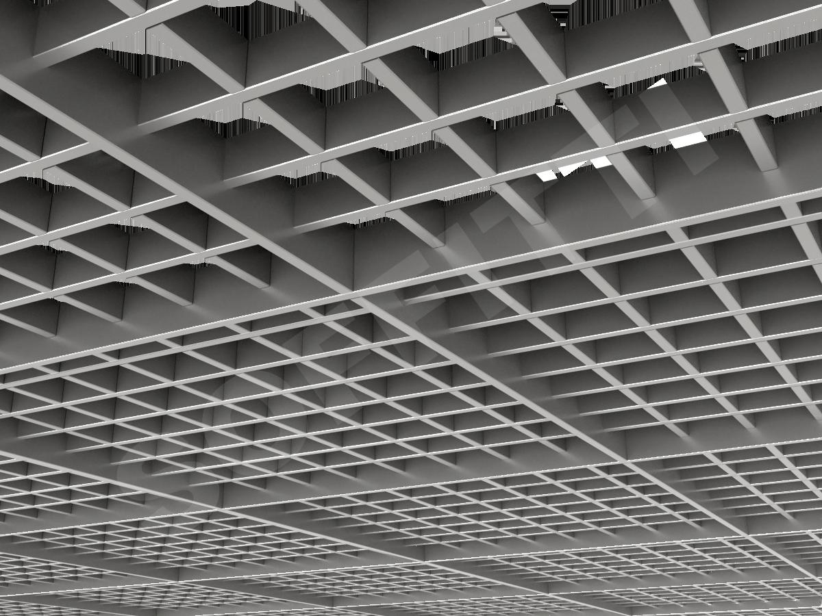 Потолок Грильято разноуровневое 75х75 мм серебристый