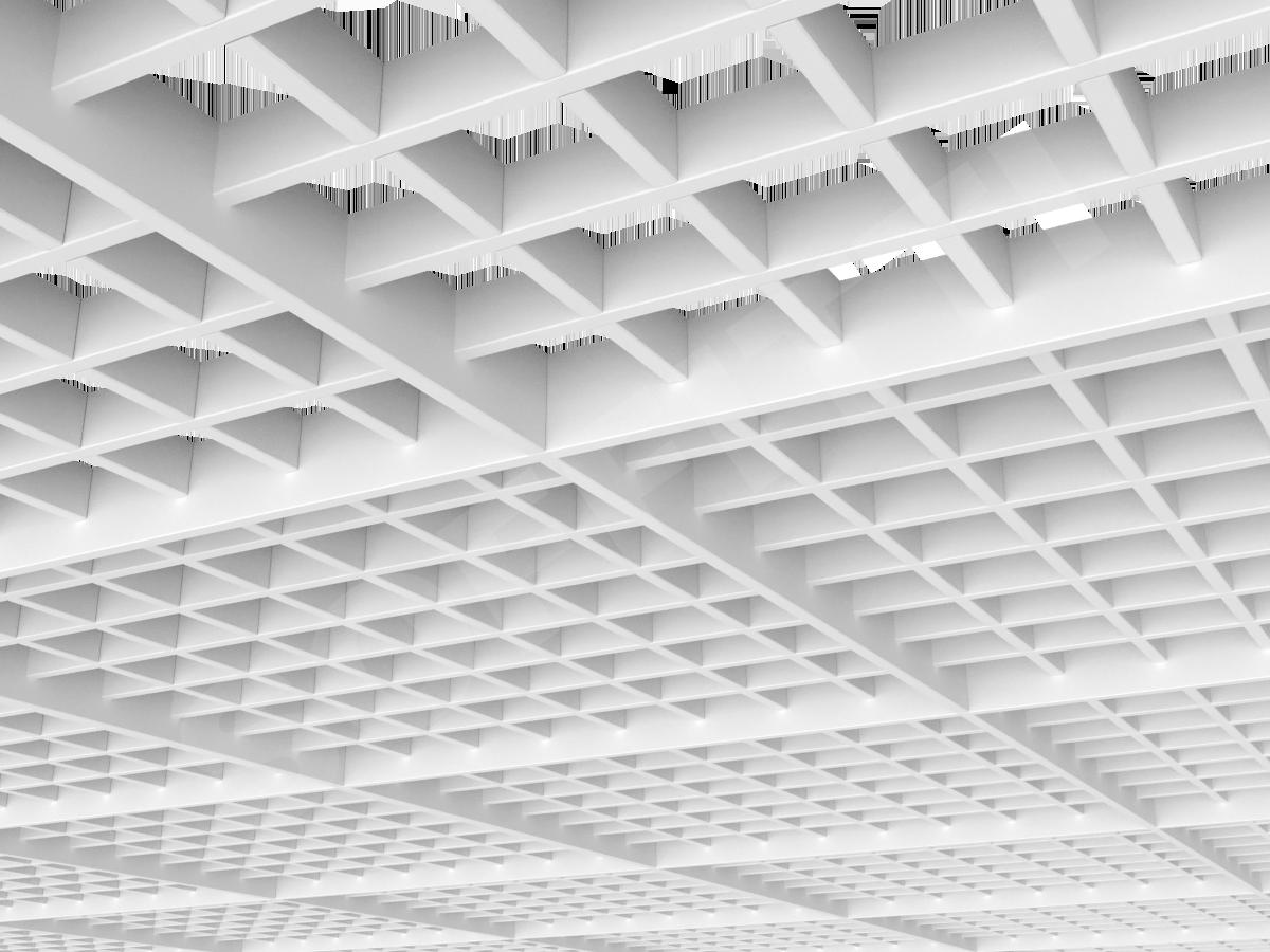 Потолок Грильято разноуровневое 75х75 мм белый