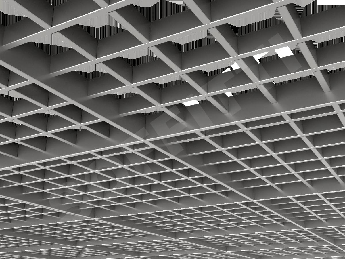 Потолок Грильято разноуровневое 86х86 мм серебристый