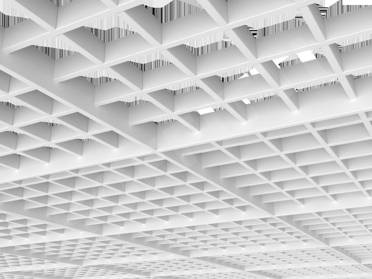 Потолок Грильято разноуровневое 86х86 мм белый