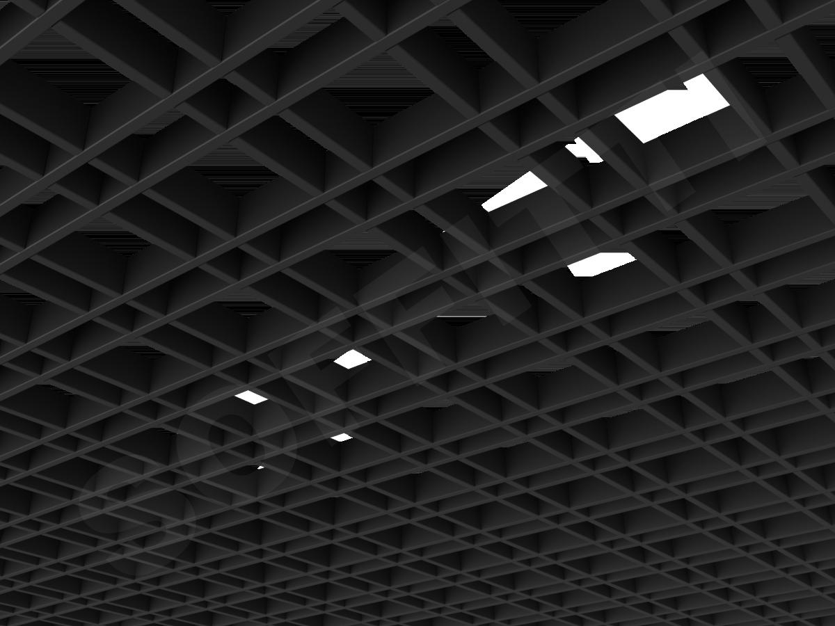 Потолок Грильято разноячеистое 100x50 мм черный