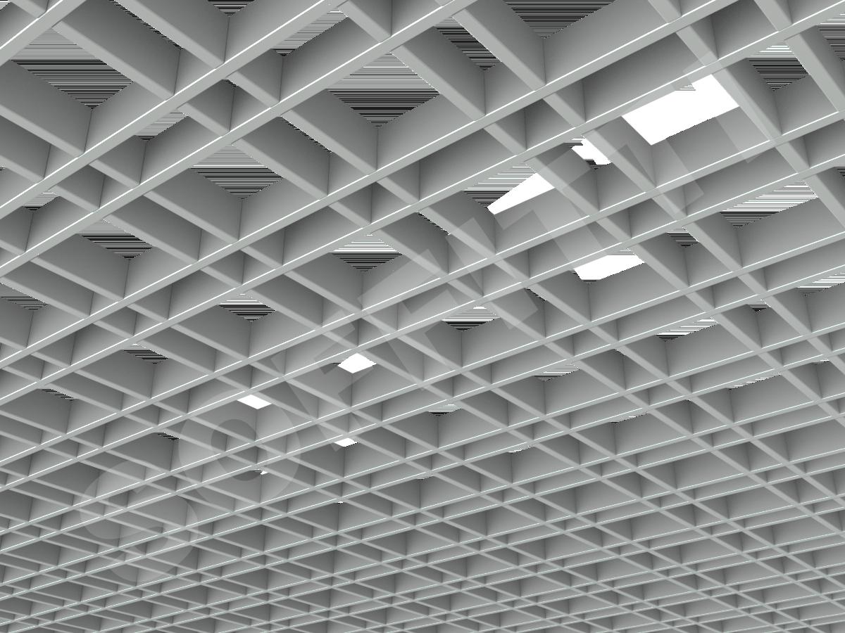 Потолок Грильято разноячеистое 100x50 мм серый