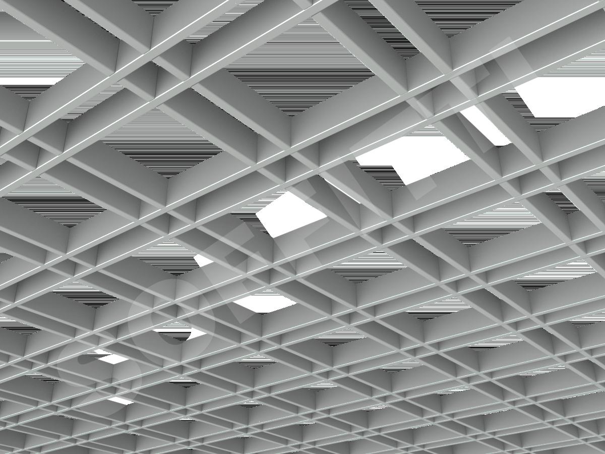 Потолок Грильято разноячеистое 150x50 мм серый