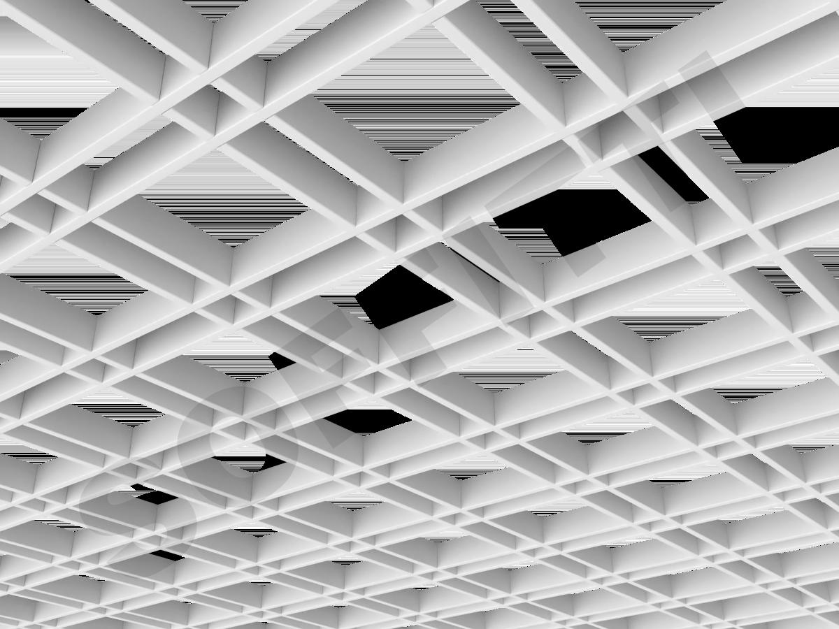 Потолок Грильято разноячеистое 150x50 мм белый