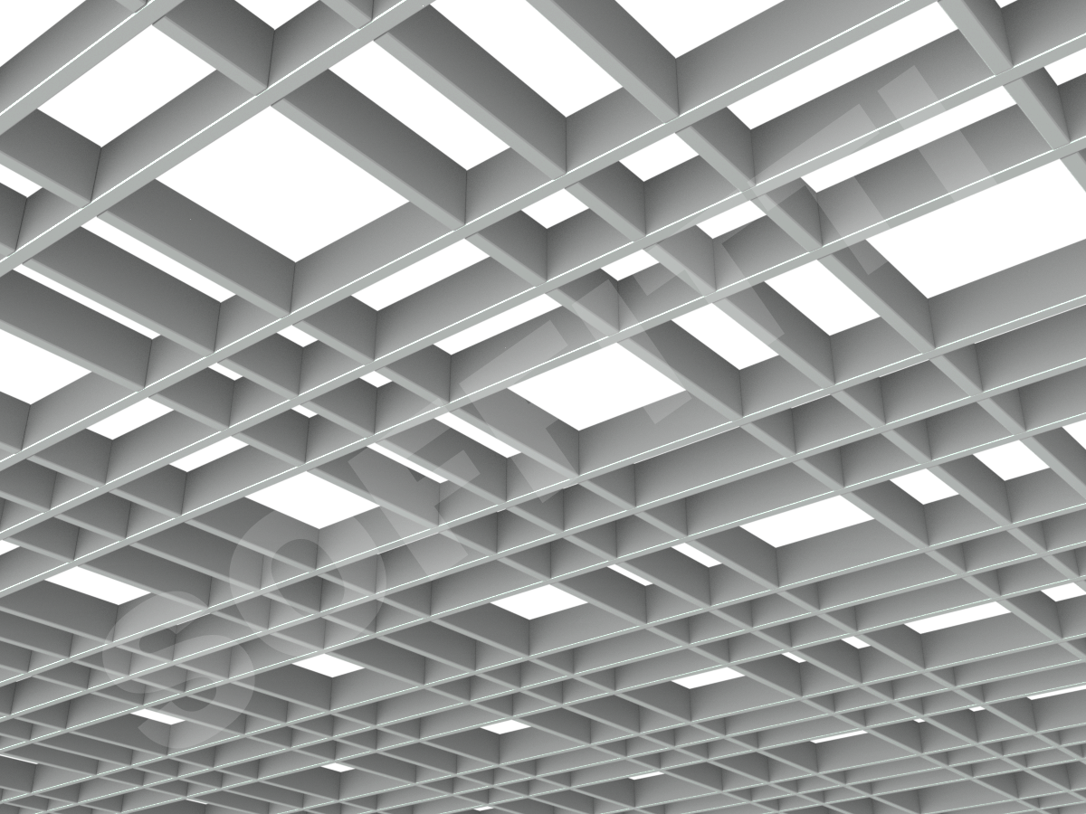 Потолок Грильято разноячеистое 150x75 мм серый