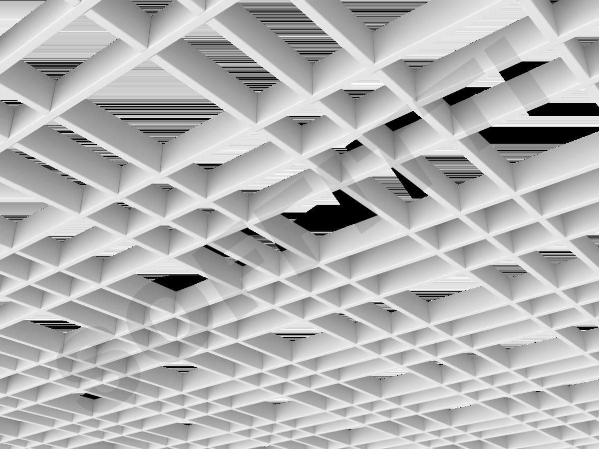 Потолок Грильято разноячеистое 150x75 мм белый