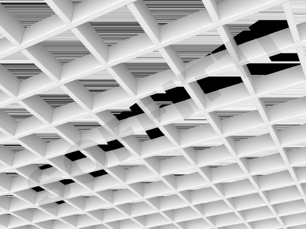 Потолок Грильято Стандарт 100х100 мм белый