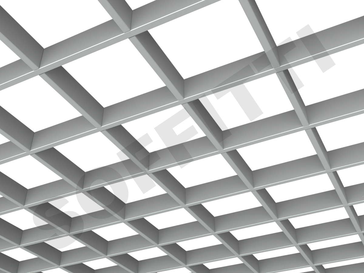 Потолок Грильято Стандарт 150х150 мм серый