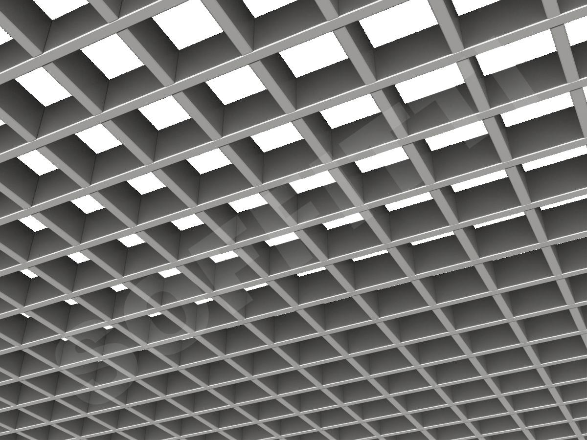 Потолок Грильято Стандарт 75х75 мм серебристый
