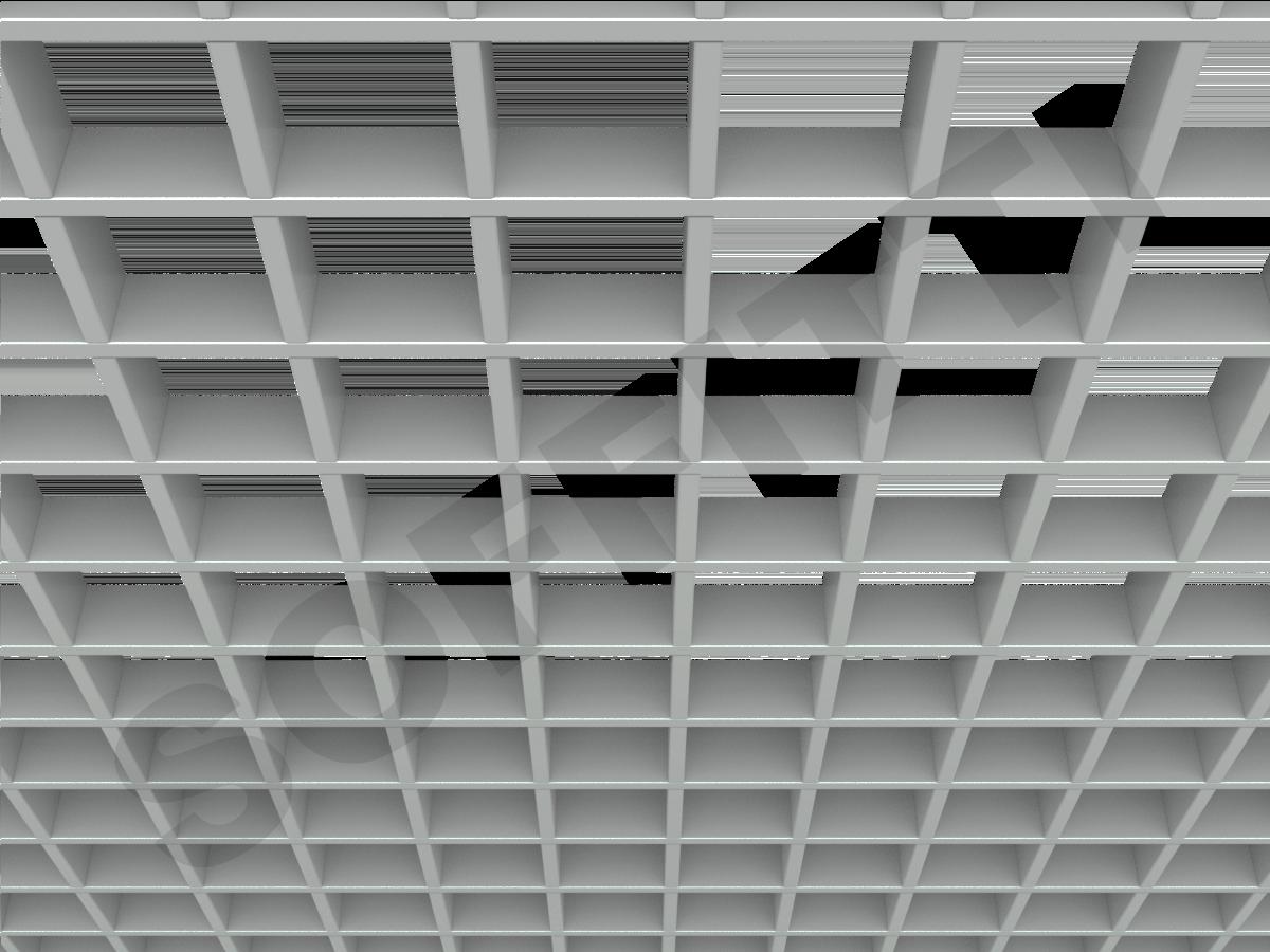 Потолок Грильято Стандарт 86х86 мм серый