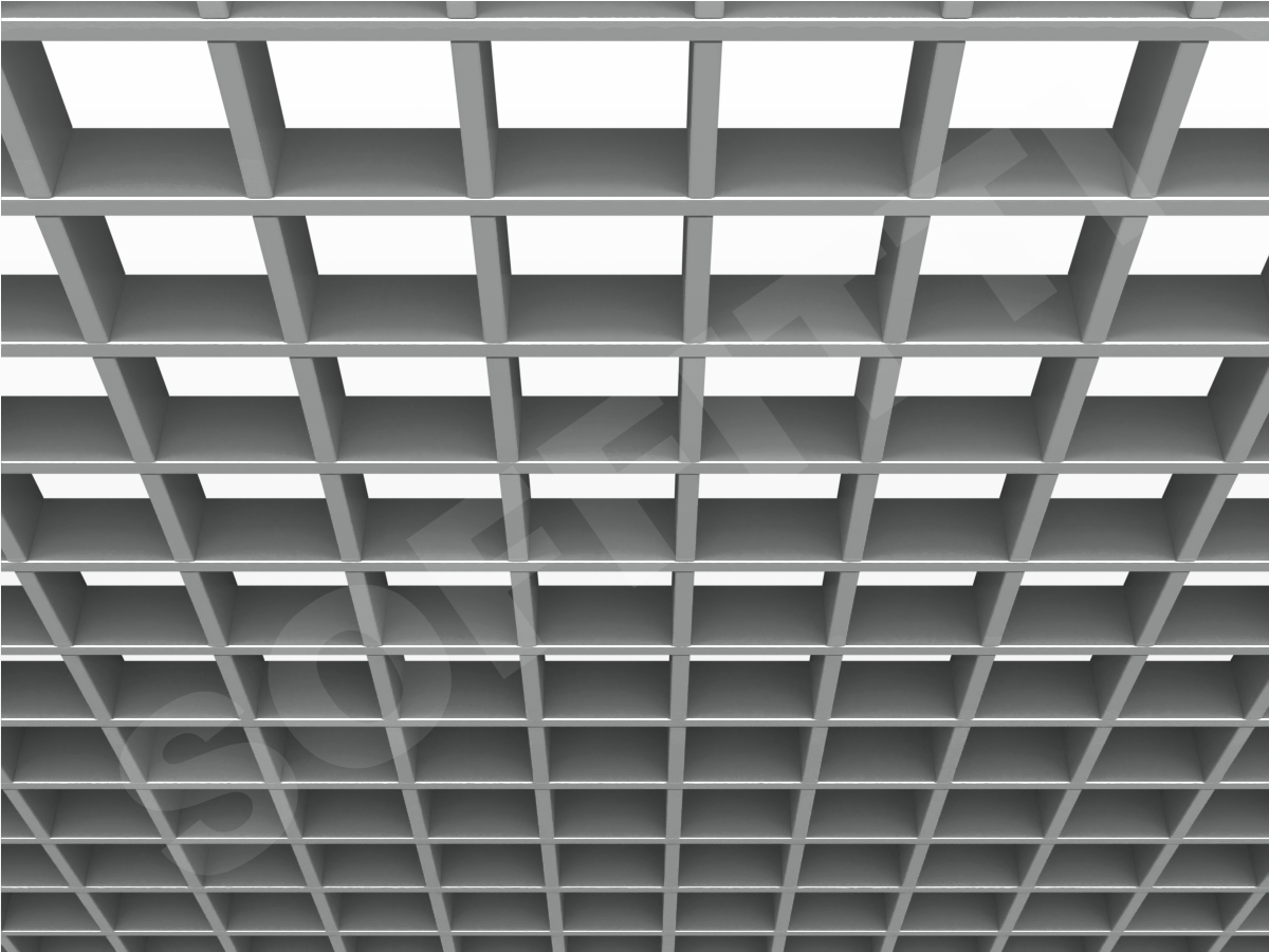 Потолок Грильято Стандарт 86х86 мм серебристый
