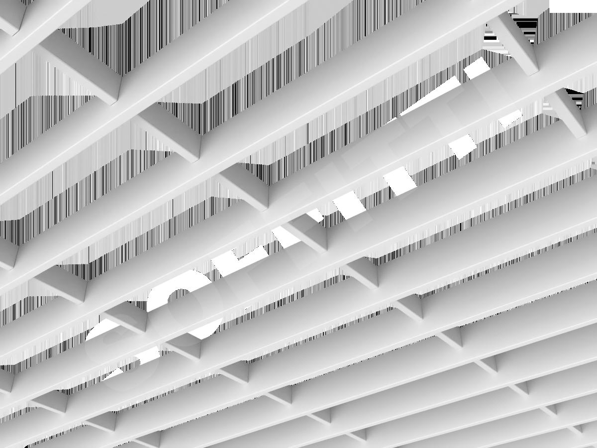 Потолок Грильято-жалюзи 300х100 мм белый