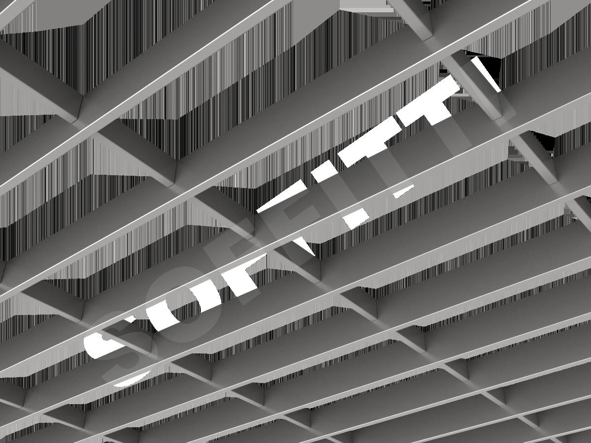 Потолок Грильято-жалюзи 300х120 мм серебристый