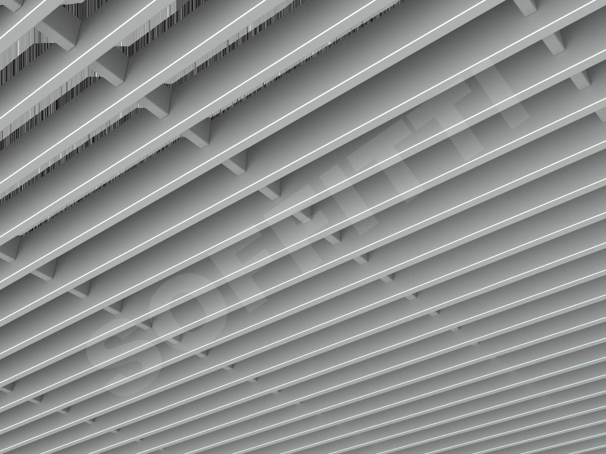 Потолок Грильято-жалюзи 300х50 мм серый