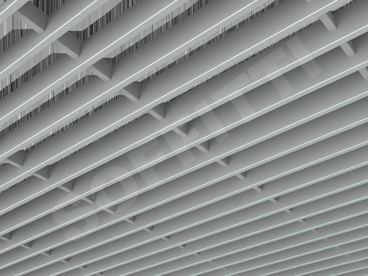 Потолок Грильято-жалюзи 300х60 мм серый