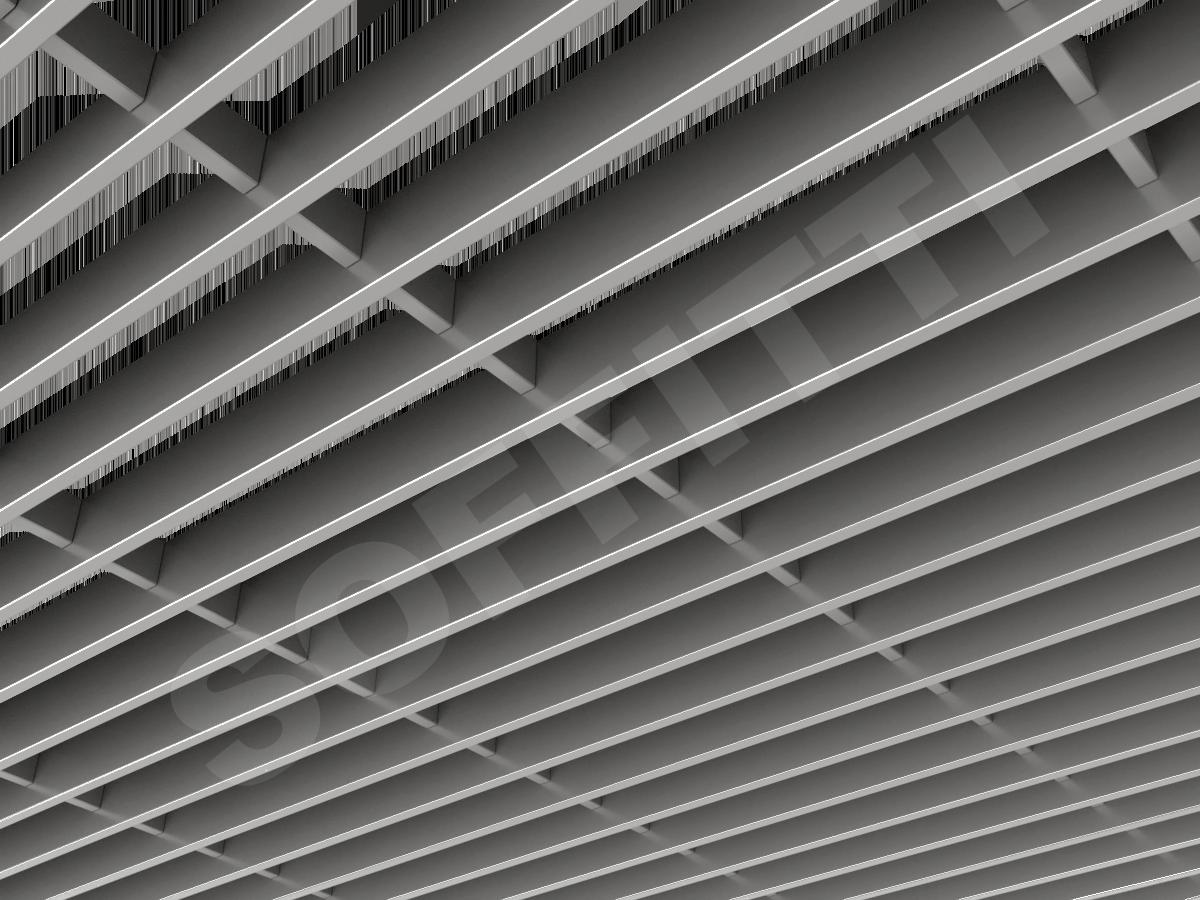 Потолок Грильято-жалюзи 300х75 мм серебристый
