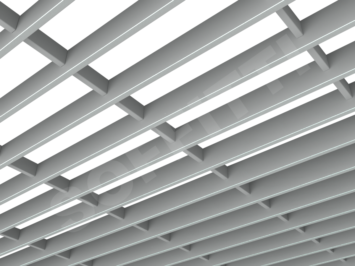 Потолок Грильято-жалюзи 300х86 мм серый
