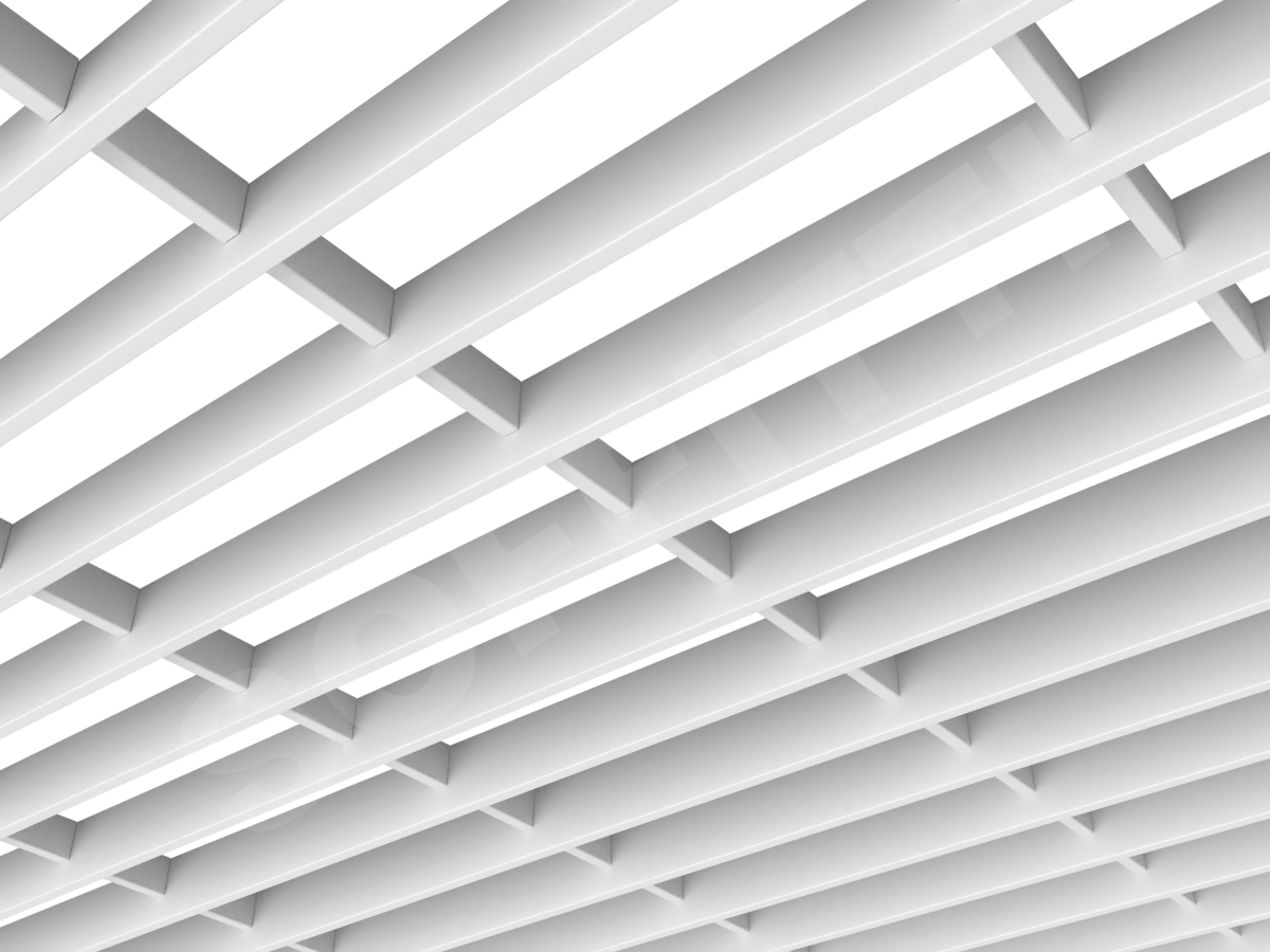 Потолок Грильято-жалюзи 300х86 мм белый