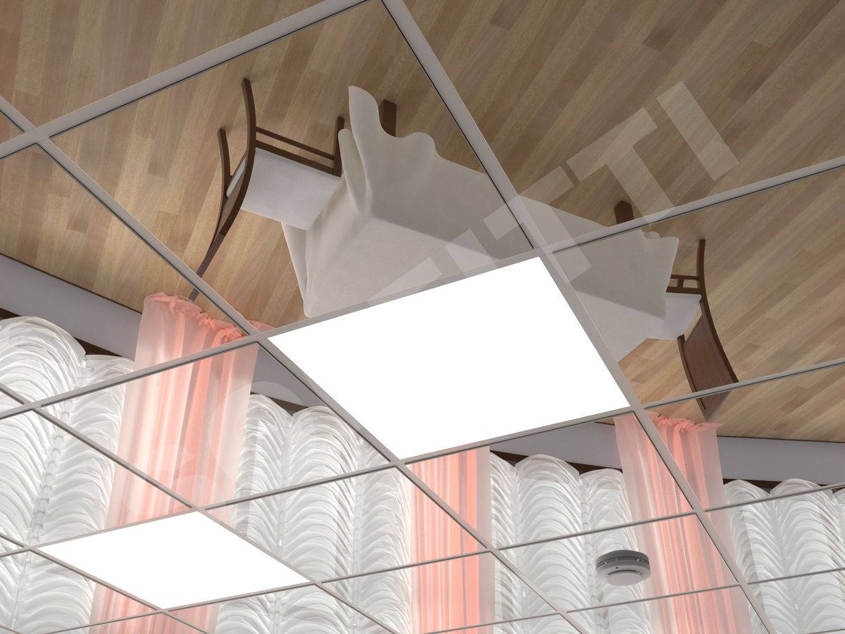 Кассетный потолок Tegular 600x600мм хром