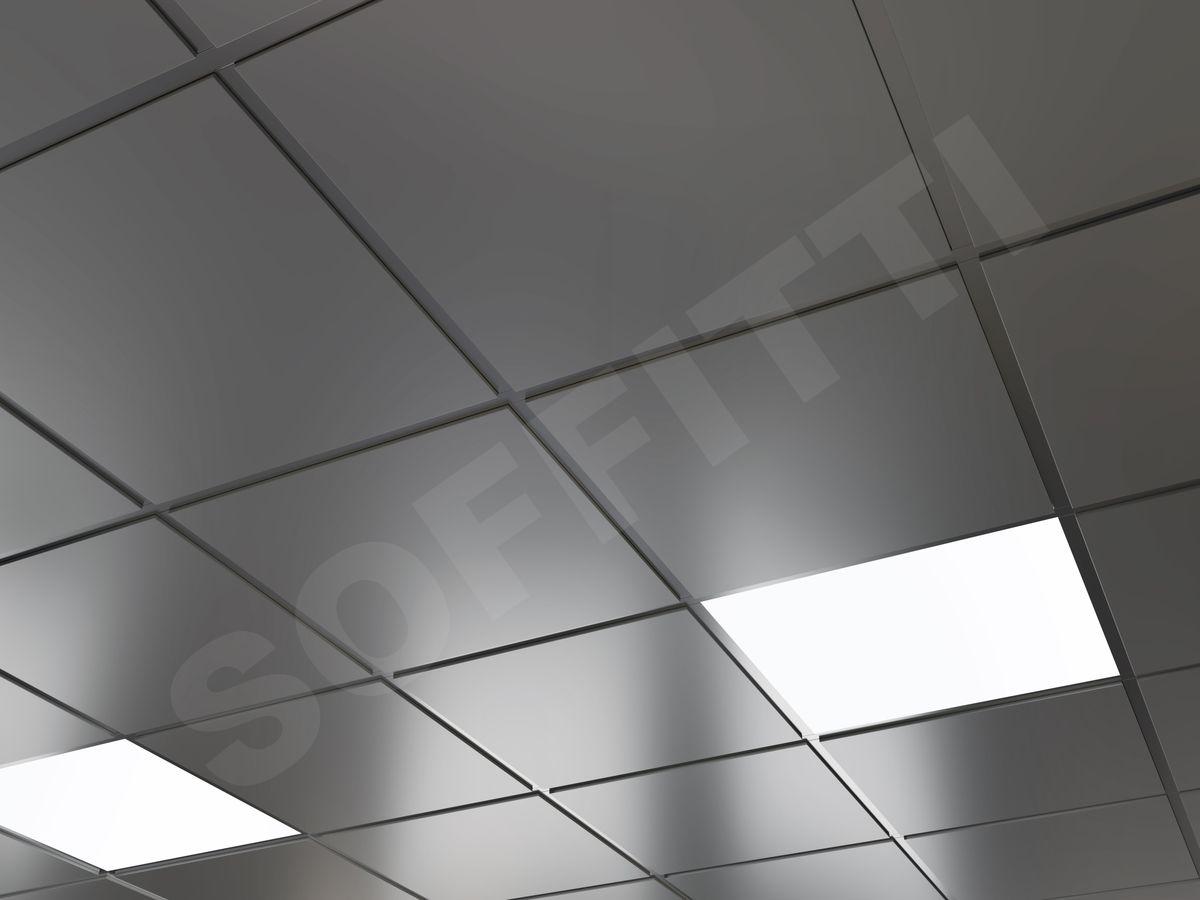 Кассетный потолок Tegular 600x600мм металлик